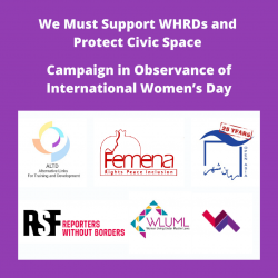 Protect Civic Space; Support WHRDs Campaign in Observance of International Women's Day 2